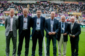 Left to right: Alan Tate, Mark Harris, Andy Melville, Mike Hughes, Keith Todd, Barrie Jones