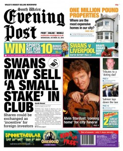 South Wales Evening Post Front Page Wednesday 29th October 2014